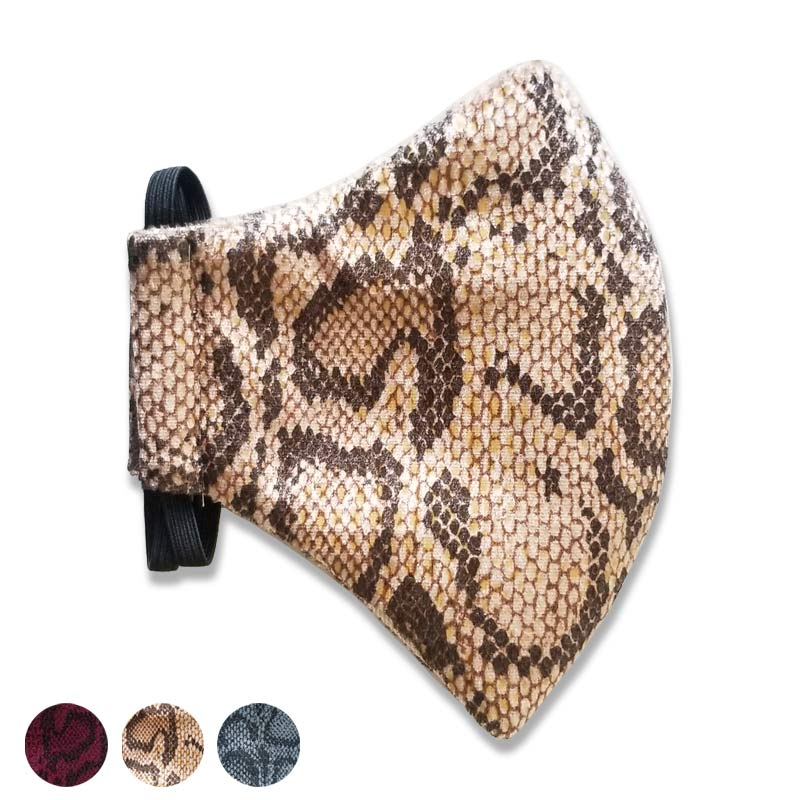 Three Faux Snake Skin Face Masks