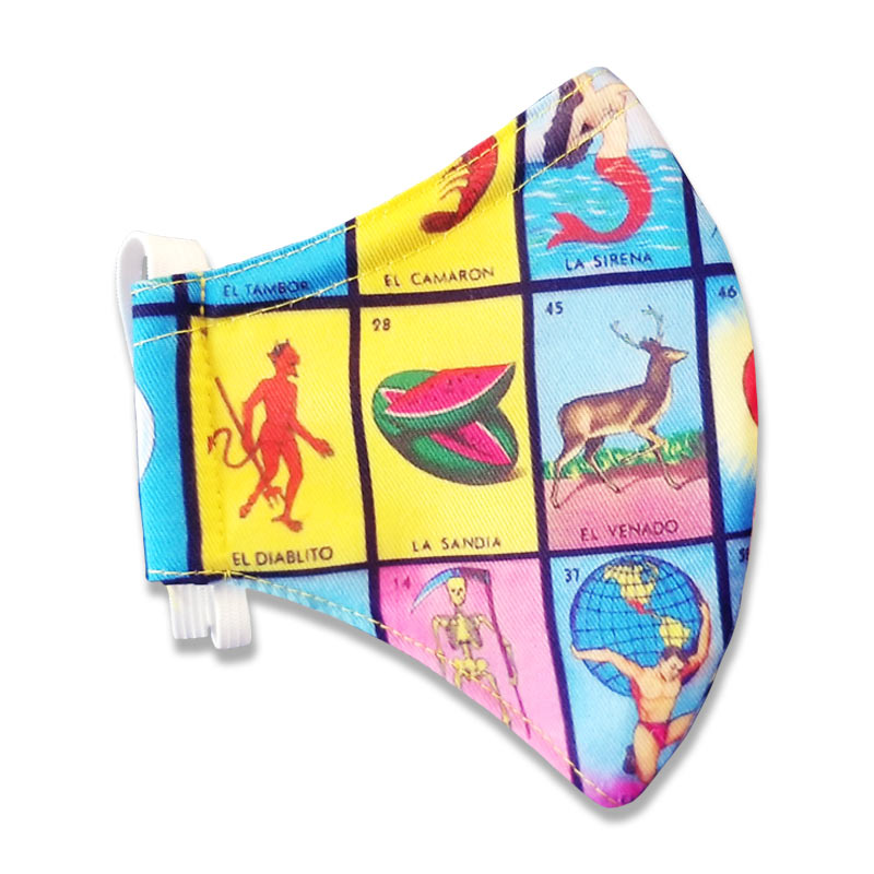 Loteria Face Mask with White Elastic